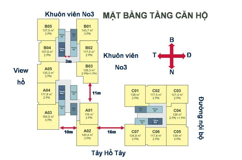 Mặt bằng điển hình tòa No3T3 và No3 T4